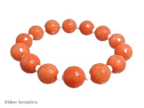 Chunky Faceted Peach Orange Jade & White Beaded Stretch Fashion Bracelet